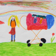 Children's drawing of mother with perambulator — Stock Photo