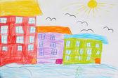 子どもたちの家や鳥を絵します。 — ストック写真