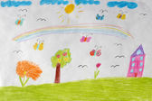 Children's drawing of house, flowers and rainbow — Stock Photo