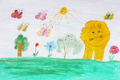 Children's drawing with butterflies and lion — Stock Photo