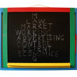 Stock Photo: Main components of market showing on blackboard