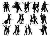 踊る人々 のシルエット — ストック写真
