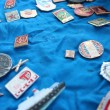 Stock Photo: Set of Soviet badges about olympiad in Moscow 1980