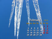 Calendar for the Fabruary of 2014 — 图库照片