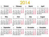 Calendario per l'anno 2014 — Foto Stock
