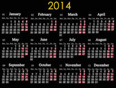 Beautiful black calendar for 2014 year — Stock Photo