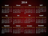 Beautiful claret calendar for 2014 year — Stock Photo