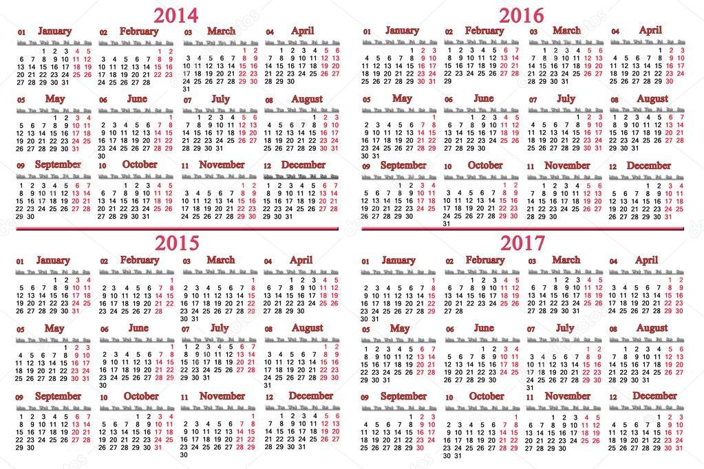 カレンダー 2017年カレンダー : オフィス カレンダー 2014年 2017 ...