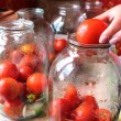 Tomatos in jars prepared for preservation — Stock Photo #32205763