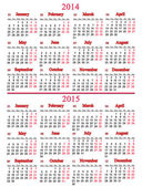 Calendar for two nearest years — Stock Photo
