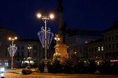 Illuminated street of Lviv city — Stock Photo