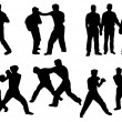 Black silhouette of boxing people — Stock Photo