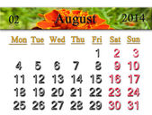 Calendar for the August of 2014 year with flower — Stock Photo