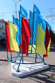 Many multicolor flags on the national holiday of Ukraine — Foto Stock