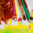 Stock Photo: Children's drawing of house and autumn leaves