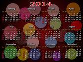 多色ラウンドと 2014 年のカレンダー — ストック写真