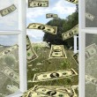 Stock Photo: Dollars flying away from opened window