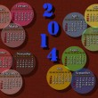 Calendar for 2014 year on the brown background — Stock Photo