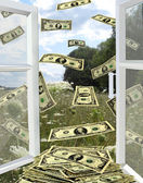 Dollars flying away from opened window — Stock Photo