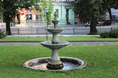 Construction of fountain in city park — Stock Photo