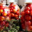 Tomatos in jars prepared for preservation — Stock Photo #36211057