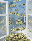 Opened window with drops of water and dollars — Stock Photo