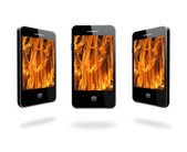 Mobile phone with flame on the white background — Stock Photo