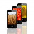 Modern mobile phones with different plants — ストック写真