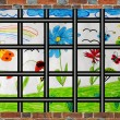 Prison's window with bars and children's drawing — Stock Photo