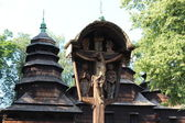 Nice wooden church in village of Western Ukraine — Foto de Stock