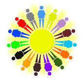 Nice multicolored little men as a symbol of solidarity — Stock Photo