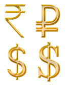 Signs of currencies: rupee, ruble, dollar — Stock Photo