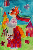 Children's drawing with fox in Ukrainian clothes — Stock Photo