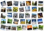 Many motley photos on the white background — Stock Photo