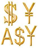 Znaky měn: jüan, dolar, japonský jen, australský dolar — Stock fotografie
