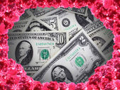 Dollar banknotes placed in the frame from roses — Foto de Stock