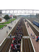 View to the people waiting for the electric train — Stock Photo