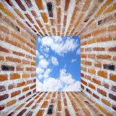 Prison's window in wall from brick — Stock Photo