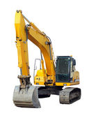 Modern excavator isolated on the white — Stock Photo