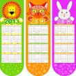 Stock Vector: Bookmarks-calendar on 2013 year