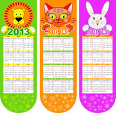 Bookmarks-calendar on a 2013 year — Stock Vector