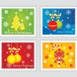 Cute set of Christmas postage stamps — Stock Vector