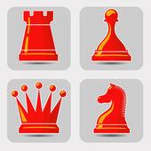 Iconos vectoriales con ajedrez — Vector de stock