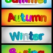 Vector set of horizontal seasons banners — Stock Vector