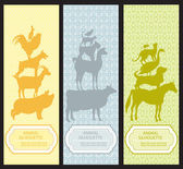 Bookmarks with pet animal silhouettes — Stock Vector
