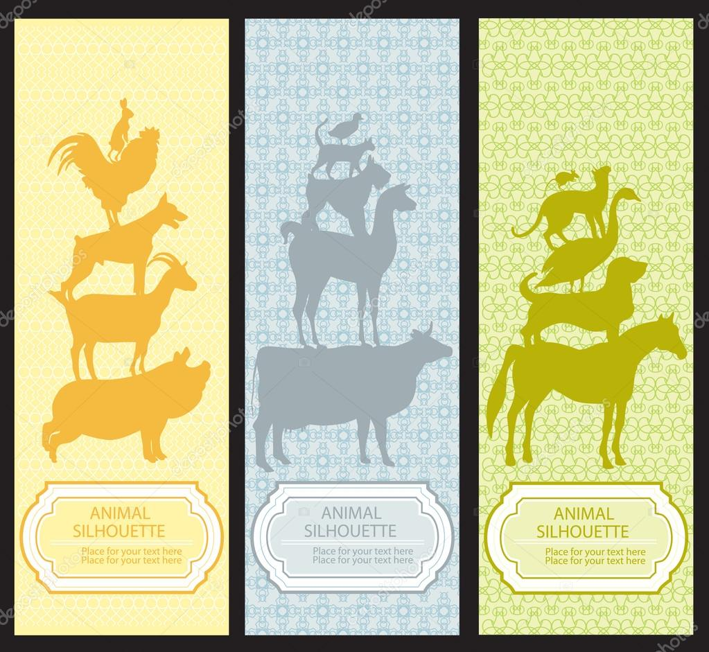 Bookmarks with pet animal silhouettes. Set 2 — Stock Vector #14036546