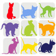 Cat silhouettes — Stock Vector #17666199