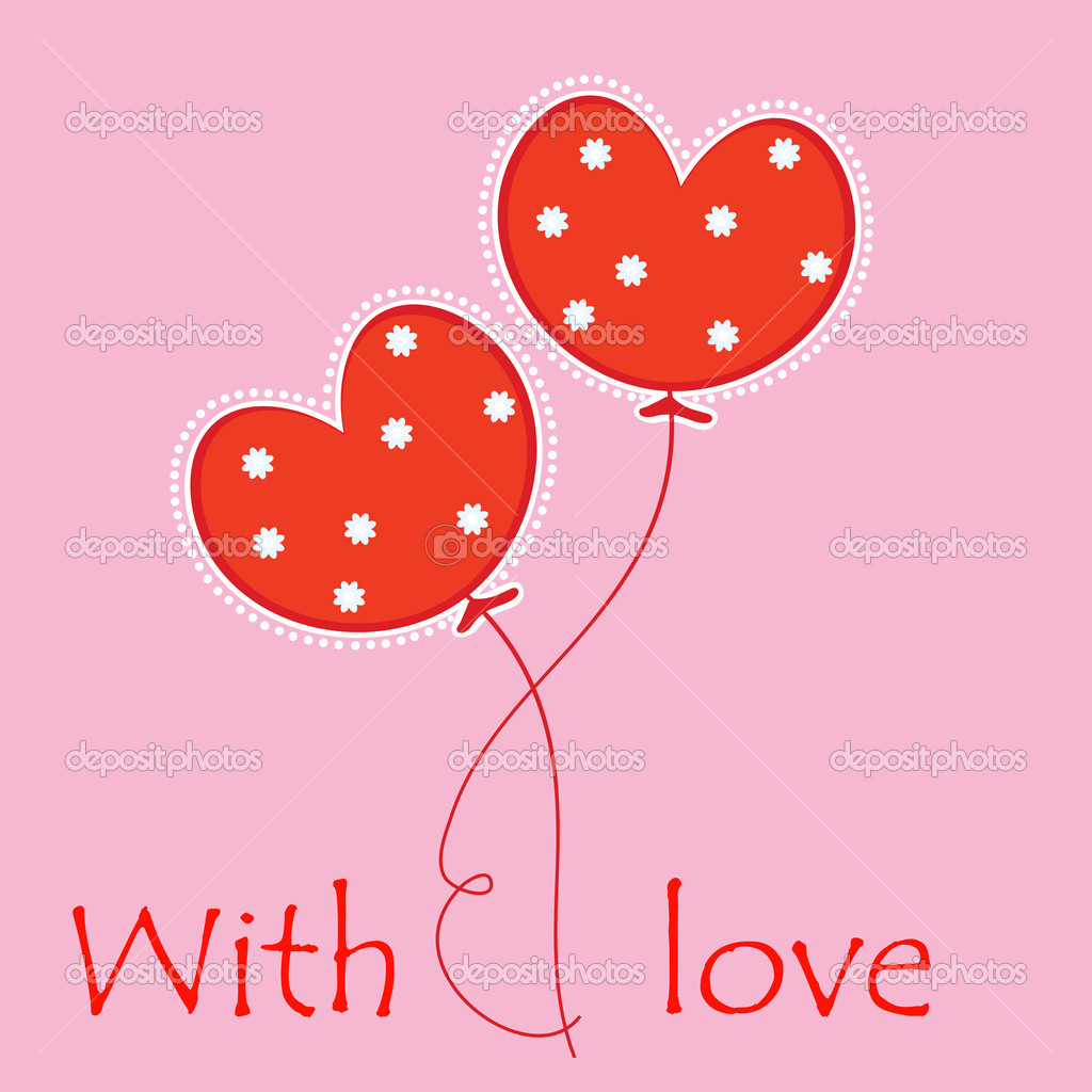 Valentine's Day card with balls. Vector illustration. — Stock Vector #18995617