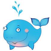 Cute cartoon whale — Stock Vector