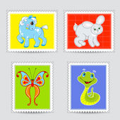 Set of postmarks wit a baby animals — Stock Vector